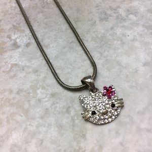 Hello Kitty Necklace Rhinestone Silver